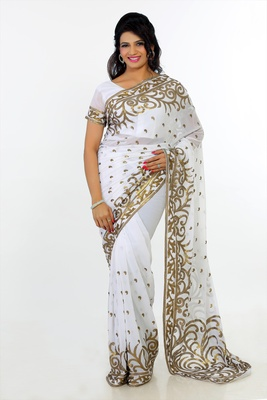 White faux georgette saree with unstitched blouse (264)