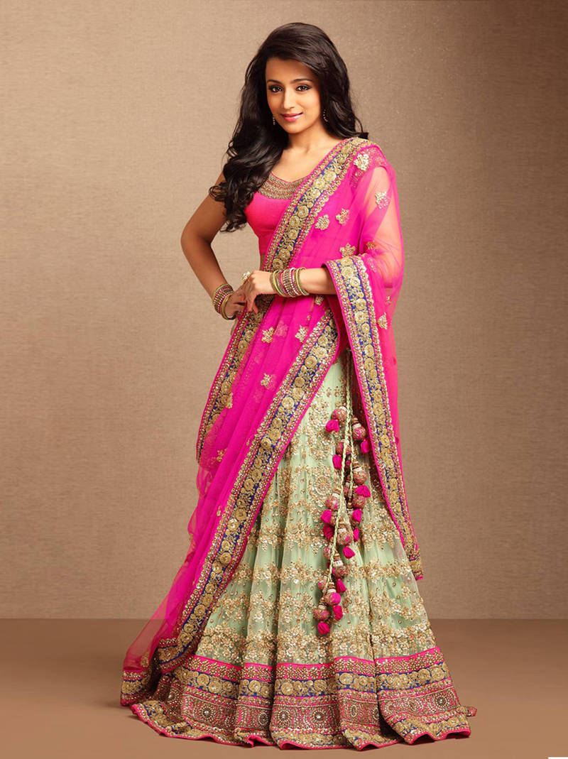 Buy Pink Embroidered Net Unstitched Lehenga Online