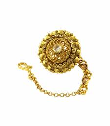 Buy Golden Beige Polki Stones Bor Tika Jewellery for Women - Orniza maang-tikka online