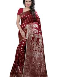 Buy Maroon woven banarasi silk saree with blouse banarasi-saree online