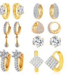 Buy White cubic zirconia earrings combo-earring online