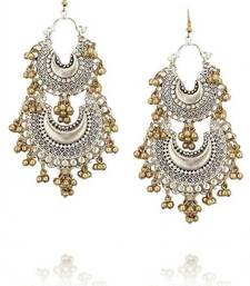 Buy Silver and Gold Two tone Double Chand Earrings wedding-season-sale online