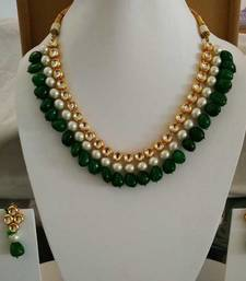 Buy Kundan with embellished pearl and Green Onyx Gemstone Necklace necklace-set online