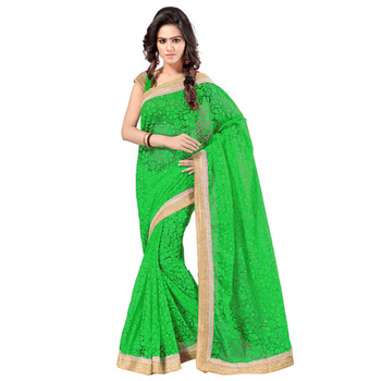 Green Embroidered Brasso saree with blouse