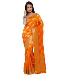 Buy Orange zari art silk saree with blouse kanchipuram-silk-saree online