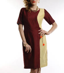 Buy Women's Designer Maroon And Golden Cotton Silk Dress ganpati-dres online