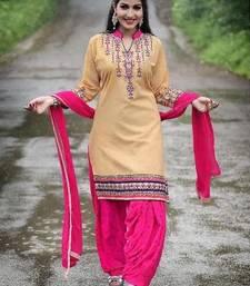 Buy Cream embroidery cotton semi stitched salwar with dupatta patiala-salwar online