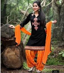 Buy Black embroidery cotton semi stitched salwar with dupatta patiala-salwar online