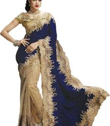 Buy Beige embroidered velvet saree with blouse designer-embroidered-saree online