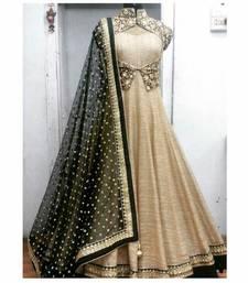 Buy Chiku embroidered art silk semi stitched salwar with dupatta black-friday-deal-sale online