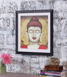 Buy Buddha 18 Inch X 18 Inch Abstract Art Print | Textured Frame | Ho... painting online