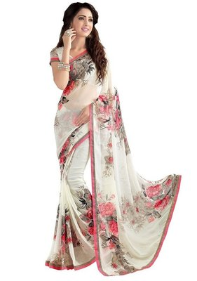 White printed georgette saree with blouse