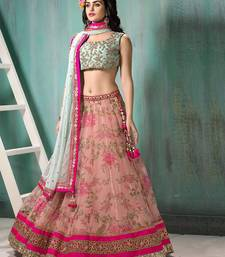 Buy Pink embroidered georgette unstitched lehenga wedding-season-sale online
