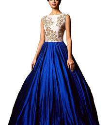 Buy Blue embroidered semi stitiched party wear gowns party-wear-gown online