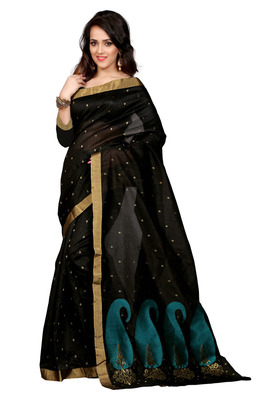 Black plain tissue saree with blouse