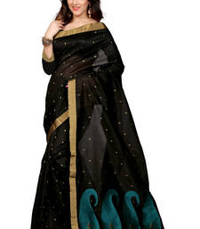 Buy Black plain tissue saree with blouse tissue-saree online