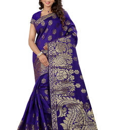 Buy Blue plain tissue saree with blouse tissue-saree online