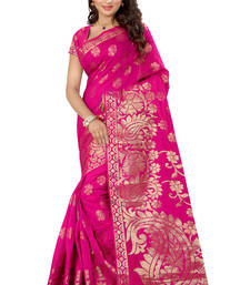Buy Pink plain tissue saree with blouse tissue-saree online