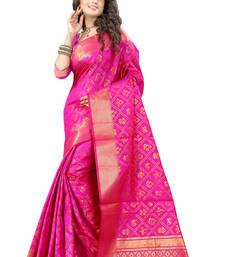 Buy Rani pink plain poly cotton saree with blouse tussar-silk-saree online