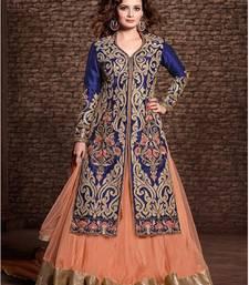 Buy Online latest Partywear Blue embroidered semi-stitched salwar with dupatta (Free Size Dress) anarkali-salwar-kameez online