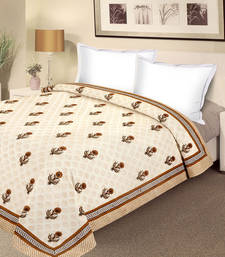 Buy Off-white and Earth tone Pure Cotton Double Duvet Cover duvet-cover online