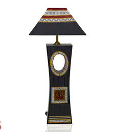 Buy Hand Cut and Painted Grey and Black Wooden Lamp Shade table-lamp online