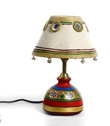 Buy Jute Fabric Shade and Terracotta Table Lamp with Bells and Mirrors table-lamp online