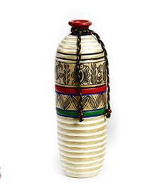 Buy Gold and White Hand Painted Terracotta Vase vase online