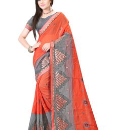 Buy Orange embroidered cotton saree with blouse cotton-saree online