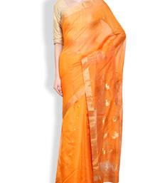 Buy Orange design saree mp chandri saree chanderi-saree online