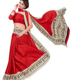 Buy Red printed kanchipuram saree with blouse kanchipuram-silk-saree online