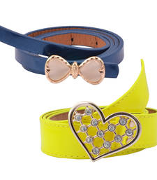 "Buy "" Yellow and Blue Color"" Belt Combo For Womens gifts-for-sister online"