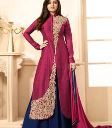 Buy Pink Embroidered Banglori Silk Anarkali Semi-stitched Indowestrn Suit indowestern online