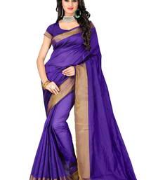 Buy Blue plain cotton silk saree with blouse cotton-silk-saree online