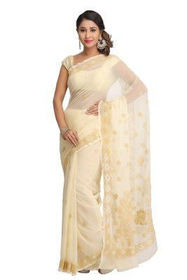 Fawn embroidered georgette saree with blouse