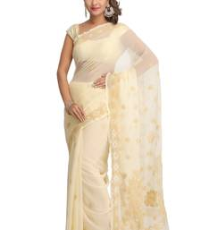 Buy Fawn embroidered georgette saree with blouse chikankari-saris online