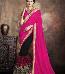 Buy Hot pink embroidered faux art silk saree wedding-saree online