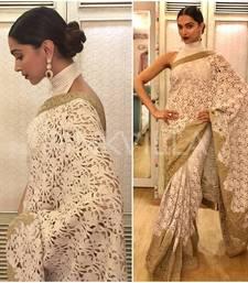 Buy White embroidered net saree with blouse deepika-padukone-saree online