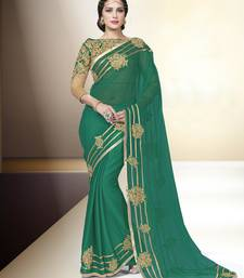 Buy Dark green embroidered chiffon saree with blouse wedding-saree online