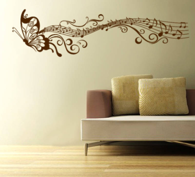 Buy musical butterfly wall decal online for Butterfly design on wall