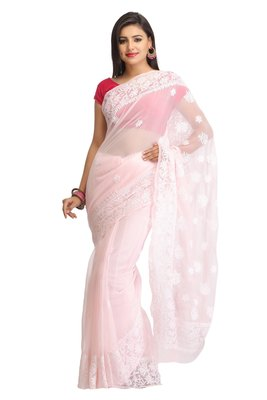 Peach embroidred georgette saree with blouse