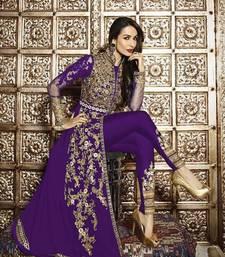Buy Purple embroidered georgette semi stitched salwar with dupatta pakistani-salwar-kameez online