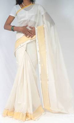 Cotton border banarasi saree