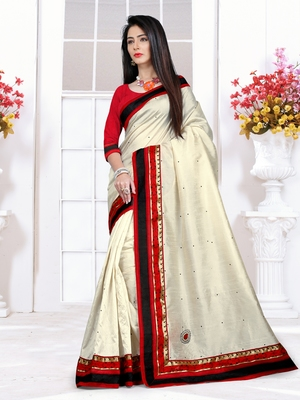 Off White plain Cotton saree with blouse