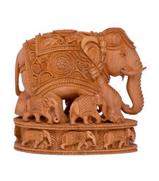 Buy indian art work handmade wooden good luck elephant for Good luck home decor