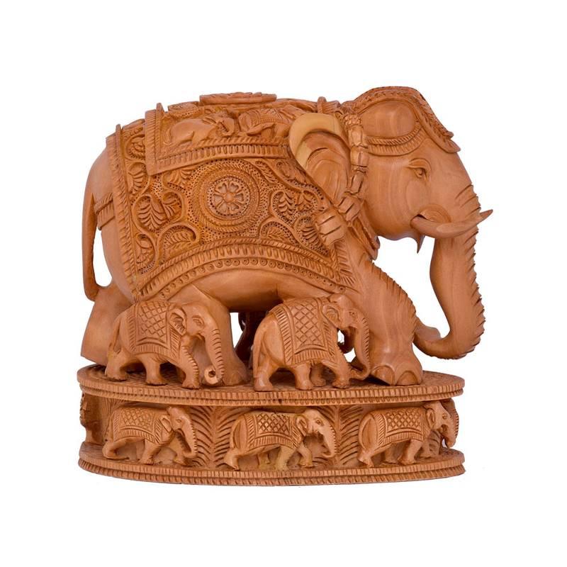 Buy Indian Art Work Handmade Wooden Good Luck Elephant Statue Idol For Home Decor Online