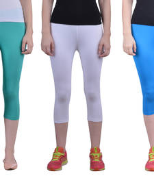 Buy White and Sea Green and T blue plain Cotton capris-3-4-pants capris-3-4-pant online