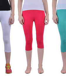 Buy White and Dark Rani and Sea Green plain Cotton capris-3-4-pants capris-3-4-pant online