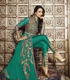 Buy Green georgette semi stitched salwar with dupatta silk-georgette-salwar online