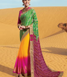 Buy Multicolor embroidered jacquard saree with blouse bandhani-sarees-bandhej online